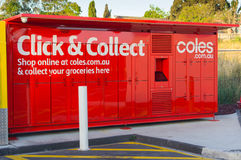 Coles supermarket online shopping collection lockers stock photography