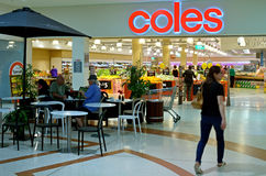 Coles Supermarket. SURFERS PARADISE, AUS - NOV 03 2014:Shoppers in Coles.It's an Australian supermarket chain operates 741 stores throughout Australia and stock image