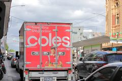 Supermarket delivery truck Melbourne Australia. Coles supermarket truck deliver groceries in Melbourne Australia stock photos