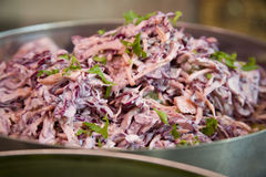 Coleslaw. Bowl of fresh coleslaw in a deli counter Stock Images