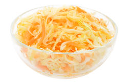 Coleslaw in the glass bowl Royalty Free Stock Photo