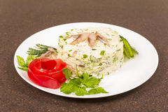 Coleslaw and herring Stock Image