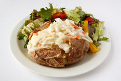 Coleslaw jacket Potato with side salad. A baked potato with coleslaw filling on a plate with side salad Royalty Free Stock Photo