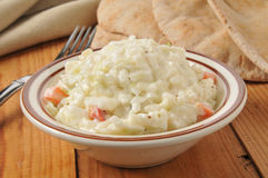 Coleslaw and pita bread Stock Photo