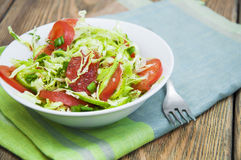 Coleslaw. Salad with fresh cabbage, tomato, cucumber and herbs on the plate on a table Royalty Free Stock Photography