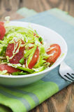 Coleslaw. Salad with fresh cabbage, tomato, cucumber and herbs on the plate on a table Stock Images