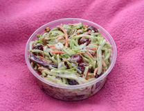 Coleslaw in a to-go container Royalty Free Stock Images