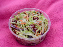 Coleslaw in a to-go container Stock Photos