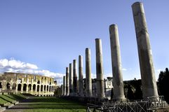 Colesseum and Pilars of the Antiquarium Forense Stock Photography