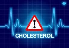 COLESTEROLO scritto sul cardiofrequenzimetro blu Fotografia Stock Libera da Diritti