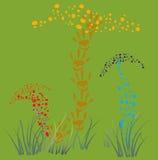 Coleta de cogumelos alucinógenos. ilustração stock