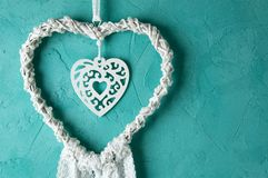 Coletor branco do sonho do laço do coração Foto de Stock Royalty Free