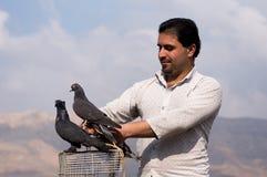 Coletor do pombo que guarda uma gaiola com os pombos sobre ela Imagens de Stock Royalty Free