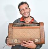 Coletor feliz de rádios do vintage imagem de stock royalty free