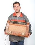 Coletor feliz de rádios do vintage imagem de stock