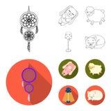 Coletor ideal, carneiros macios do brinquedo e coelho, lâmpada de assoalho Ícones ajustados do resto e da coleção do sono no esbo Foto de Stock