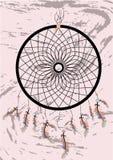 Coletor ideal indiano do nativo americano, símbolo tradicional Cartão brilhante do cartão com penas e os grânulos coloridos no fu ilustração stock