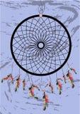 Coletor ideal indiano do nativo americano, símbolo tradicional Cartão brilhante do cartão com penas e os grânulos coloridos no fu ilustração do vetor
