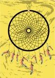 Coletor ideal indiano do nativo americano, símbolo tradicional Cartão brilhante do cartão com penas e os grânulos coloridos no fu ilustração royalty free