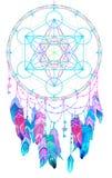 Coletor indiano do sonho da talismã do nativo americano com Metatrons Cub ilustração do vetor