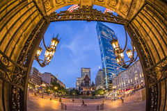 Coley Square in Boston, MA, USA. Panorama of Copley Square in Boston, Massachusetts, USA showcasing a mix of modern skyscrapers and historic buildings with some Royalty Free Stock Images
