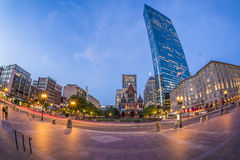 Coley Square in Boston, MA, USA. Panorama of Copley Square in Boston, Massachusetts, USA showcasing a mix of modern skyscrapers and historic buildings with some Royalty Free Stock Photography