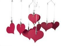 Colgante de papel de los corazones Imagen de archivo libre de regalías
