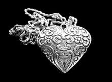 Colgante de plata del corazón Imagen de archivo libre de regalías