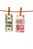 Colgante de USD y de RMB Foto de archivo libre de regalías
