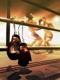 Colgante encima de guantes de boxeo stock de ilustración