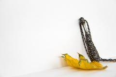 Colgante gris con los diamantes artificiales en la hoja de arce Imagen de archivo