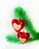 Colgante rojo de los corazones Imágenes de archivo libres de regalías