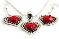 Colgante y pendientes del corazón Foto de archivo libre de regalías