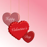Colgantes felices del corazón del día de tarjeta del día de San Valentín Foto de archivo