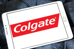 Colgate logo. Logo of toothpaste brand Colgate on samsung tablet stock image