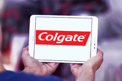 Colgate logo. Logo of toothpaste brand Colgate on samsung tablet stock photo