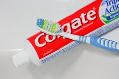 Colgate toothpaste and toothbrush Stock Image