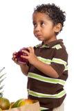 Colheita Apple da criança do saco de mantimento Fotografia de Stock Royalty Free