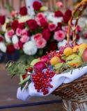 Colheita do outono, cesta com fruto fotos de stock royalty free