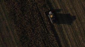 Colheita mecanizada da vista aérea no campo de milho video estoque