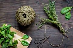 Colhendo ervas para a opinião superior do inverno no fundo de madeira Fotografia de Stock