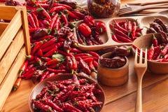 Colhendo pimentas Preparação para secar o tempero picante Venda das especiarias Foto de Stock Royalty Free