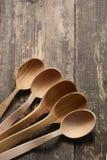 Colher cinco de madeira Imagem de Stock Royalty Free