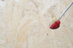 Colher com os ovos vermelhos do lumpfish Foto de Stock Royalty Free
