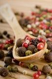 Colher completamente de pimentas aromáticas Foto de Stock