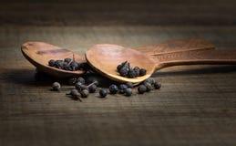 Colher de madeira com especiaria Fotos de Stock Royalty Free