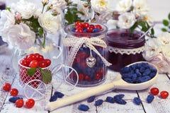 A colher de madeira completamente da baga de mel, vintage range com baga e doce frescos Fotos de Stock Royalty Free