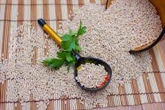 A colher de madeira encontra-se na cevada de pérola dispersada com um ramo da salsa Fotografia de Stock