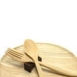 Colher de madeira, forquilha Fotografia de Stock