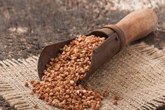 Colher de medição velha com trigo mourisco Imagem de Stock